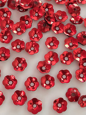 Sequins 6mm Ruby Red Metallic Flower Bowl Cup Choose Pack Size