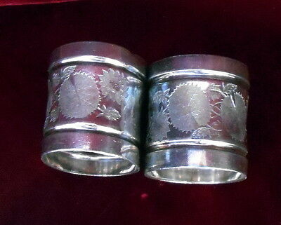 Pair Antique Victorian Napkin Rings Holders Silver Plated Floral Stamped