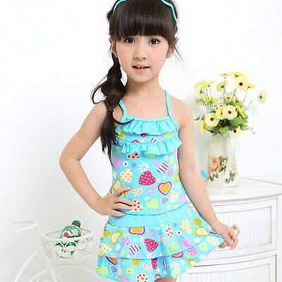 Blue Girls Swimwear Kids Beach Wear Swimming Bathing Dress Swimsuit