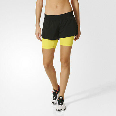Adidas 2-in-1 Womens Yellow Black Climalite Running Gym Shorts Pants Bottoms