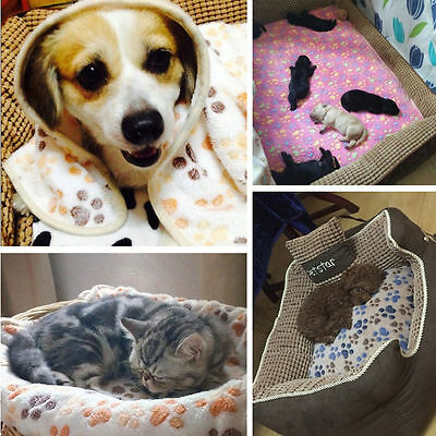 NEW Pet Small Large Paw Print Cat Dog Mat Puppy Warm Fleece Blanket Bed Cushion