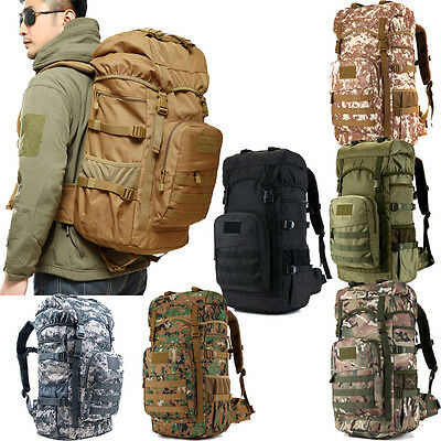 55L Large Capacity Travel Camping Backpack Rucksack Sports Bag With Raincover