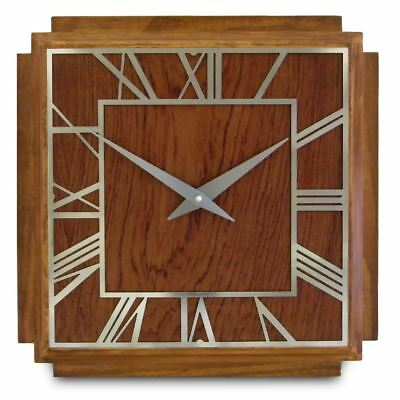 36cm Square 1930's Art Deco Style Wooden and Chrome Wall Clock