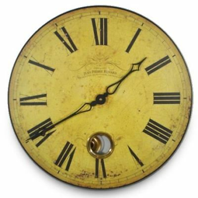 41cm Antique Yellow French Clockmakers Vintage Kitchen Wall Clock With Pendulum