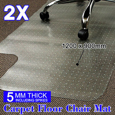 2X Carpet Floor Office Computer Work Chair Mat Protector Plastic 1200x900mm NEW