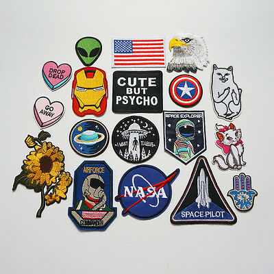 Embroidery NASA UFO Alien Sew Iron On Patch Badge Bag Hat Jeans Fabric Applique