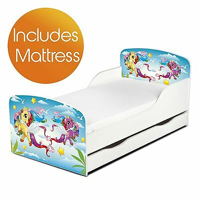Magical Pony Mdf Toddler Bed + Underbed Storage & Mattress Girls
