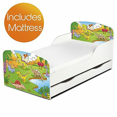 Dinosaurs Mdf Toddler Bed With Storage + Deluxe Mattress Boys