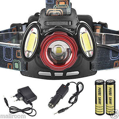 Headlamp 8500Lm XML T6+2R5 3x LED Stirnlampe Torch 2X 18650 AC/Car Lade Recharge