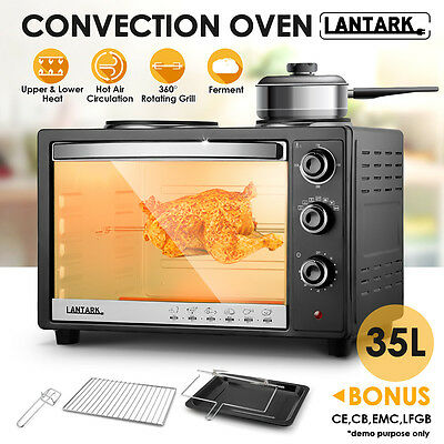 Lantark 35 Ltr Electric Mini Convection Oven Grill Double Hob Hot plate Rotisser