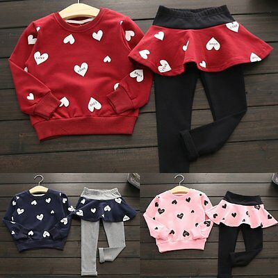 Toddler Kids Baby Girl Outfits Clothes Sweatshirt Tops+Long Pants Dress 2PCS Set