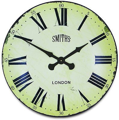 70cm Extra Large Smiths London Vintage Antqiue White Kitchen Wall Clock