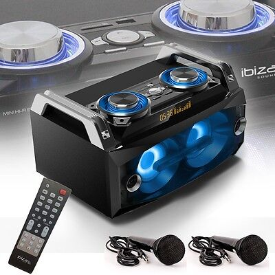 Party Lautsprecher Box Fernbedienung Bluetooth USB SD Disco Anlage 2x Mikrofon