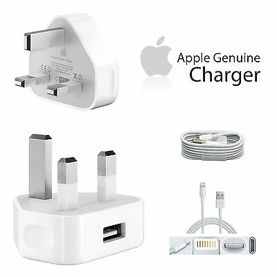 Genuine Apple iPhone 7 7plus 6 6Plus 5 5C 5S Wall Charger Plug + USB Cable sync