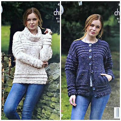 KNITTING PATTERN Ladies Long Sleeve Cowl Neck Jumper & Cardigan Chunky 4743