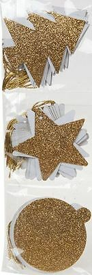 36 Christmas Gold Glitter Festive Shape Gift Tags Xmas Party Wrap Kraft Labels