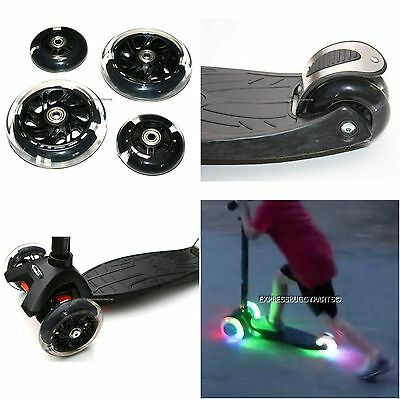 4x BLACK LED FLASH WHEEL SET FITS MAXI MICRO SCOOTER LIGHTS FRONT REAR ABEC-9