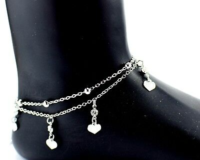 Ladies Girls Double Layer Infinity Anklet Ankle Bracelet Chain Adjustable Silver