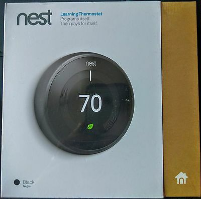 *NEW SEALED* - BLACK - Nest Learning Thermostat 3rd Generation - Retail Box