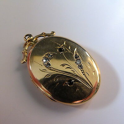 Fab Antique Victorian Gold Front and Back Ornate Oval Diamond Photo Locket