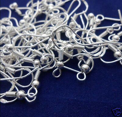 100cs Lots Silver Plated Earrings Hook Coil Ear Wires Findings DIY Jewelry New