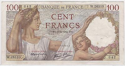 Billet 100 Francs Sully Fo 4 12 1941 Fo 042 W 26510