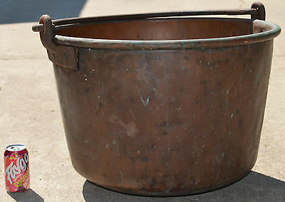 """Old Large Solid Copper Maple Syrup Boiler Pot 24"""" Diameter x 17.5"""" Tall 33lbs"""