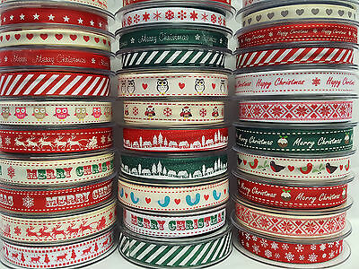Christma Ribbons Grosgrain by Bertie's Bows 9mm & 16mm  Cut to order Free P&P