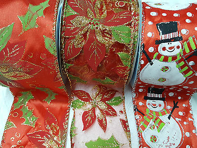 Christmas Wired Ribbon Width 63mm Poinsettia Snowman