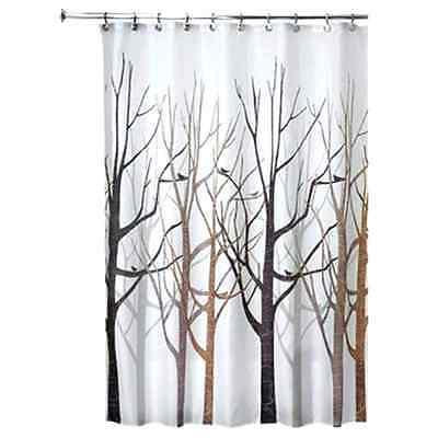 Tree Botanical Shower Curtain Fabric Nature Reinforced Button Holes Bath New .