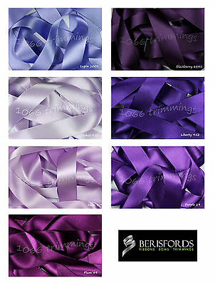 Double Satin Ribbon Berisfords Purple Lilac Shades Short Lengths and Full Reels