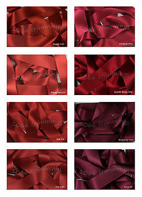 Double Satin Ribbon Berisfords Reds and Wines Shades Short Lengths Full Reels