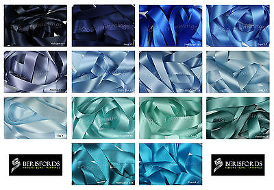 Double Satin Ribbon Berisfords Blue Shades 8 Widths Short Lengths or Full Reels