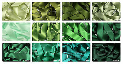 Berisfords Double Satin Ribbon Green Shades 8 Widths Short Lengths or Full Reel