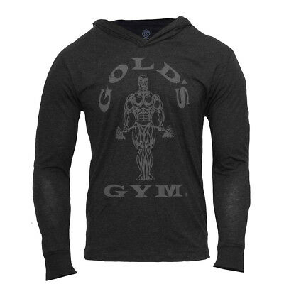 Golds Gym Mens Muscle Joe Tri-Blend Hoodie Schwarz Pullover Kapuze Longsleeve