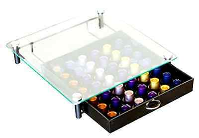 Crystal Tempered Glass Coffee Nespresso Capsule Storage Sliding Drawer/Holder .
