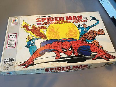 Rare Vintage Spider-Man Game With The Fantastic Four 1977 Board Game Mb Complete