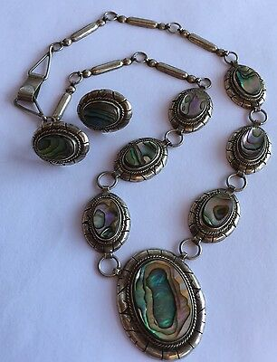 Vintage OLD TAXCO Mexico STERLING SILVER & Abalone Inlay NECKLACE EARRING SET