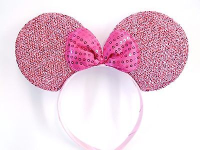 MINNIE MOUSE EARS Headband Mauve Sparkle Shimmer -- Hot Pink Sequin Bow Mickey
