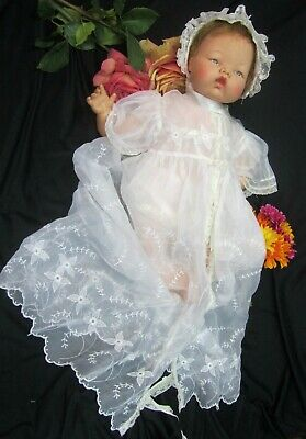 """VINTAGE 1950s CHRISTENING GOWN dress BONNET doll clothes EMBROIDERY nylon 20-24"""""""