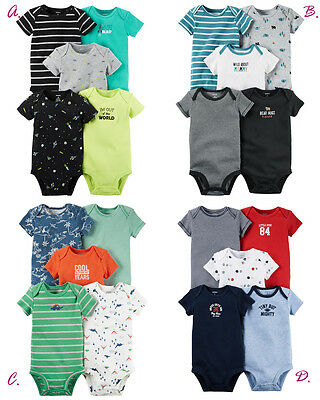 Carter's Baby Boys' 5-Pk. Bodysuits Set Clothes Newborn 3 6 9 12 18 24 Month New