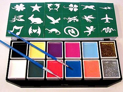 Face & Body Paint Kit For Kids With Glitter,18 Stencils, & 2 Brushes