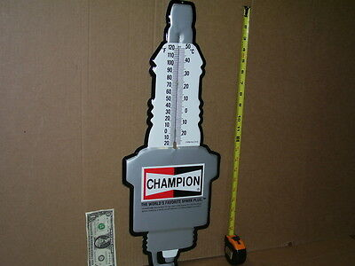 CHAMPION Thermometer Sign - GIANT SIZE Spark Plug Shaped - EMBOSSED DieCut METAL