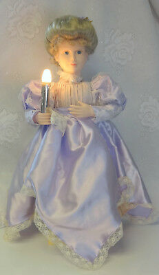 Telco Motion-Ette Light Animated Christmas Victorian Lavender Dress Lady Doll