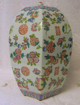 Antique Chinese PEACH FAMILLE ROSE Porcelain Vase Da Qing Tongzhi Nian Zhi Jar