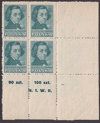 Stamps 1947 Poland 3zt green Chopin plate N1W2 bottom right corner block of 4