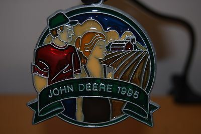 JOHN DEERE 1995 Stained Glass Christmas Ornament Window Hanging Collectible