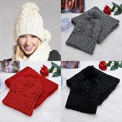 Fashion Womens Winter Warm Knit Knitted Hat And Scarf Set Knitting Skullcaps New