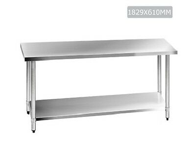 NEW 1829mm 304 Stainless Steel Kitchen Work Bench Table Adjustable Undershelving