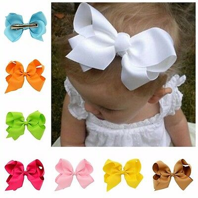 "20 Pcs 6"" Baby Girls Huge Grosgrain Ribbon Boutique Hair Bows For Girls Toddlers"